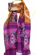 Brown and Purple Exotic Floral Print Large Maxi Scarf Stole Sarong Scarves Hijab