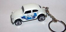 CUSTOM MADE.. VW BEETLE/BUG  (WHITE/WAVES GRAPHICS) .. KEYCHAIN..GREAT GIFT!