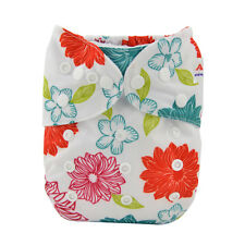 Alva Baby Girl All In One  Pocket Diaper Nappy +1sewed-in Bamboo Insert  printed
