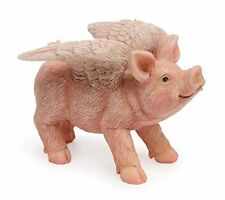 Flying Pink Pig With Wings on Cloud Decorative Figurine Ornament Statue Small