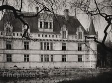 1927 Vintage FRANCE Chateau d'Azay-le-Rideau Indre River Photo Art By HURLIMANN