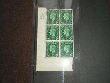 1937 Gb Kgvi Sg462 1/2d Green A 37 Control Block Of 6 Crisp Unmounted Mint Mnh