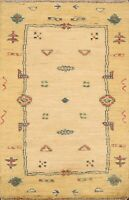 Abstract Gabbeh Kashkoli Oriental Area Rug Wool Hand-knotted Foyer Carpet 2x3 ft