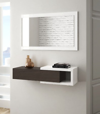 Nicia Hallway Wall Drawer Mirror Dark Walnut / White Frame Floating Design