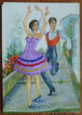 CARTE POSTALE BRODEE ESPAGNE DANSEURS TANGO embroidered vintage french postcard