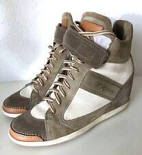 Santoni Sneaker Schuhe Grau Beige 38,5 Wildleder Keilabsatz High Top Schuhe 39