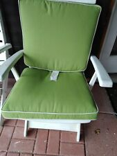 """Frontgate Seat Cushions Chair Double Piped Outdoor Set of 2 ~ Green~21x19"""" EUC"""