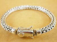 "New Bali Tulang Naga Foxtail Franco Wheat 925 Sterling Silver Bracelet 7.5"" 33g"