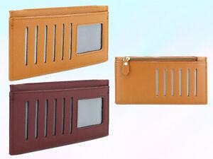 Womens Credit Card ID Holder Slim Wallet Zipped Notes Coin Thin Handbag Purse