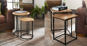 Round/Square Nest of 2 Tables With Black Legs Livingroom Furniture Space Saving