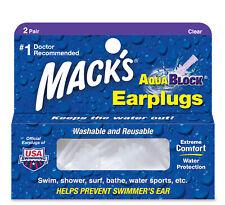 Mack's AquaBlock Earplugs Clear 2 Pair Swim Shower Washable Reusable