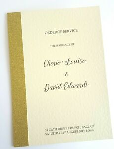 NEW 'Sparkle' Wedding Order of service covers with glitter x 10