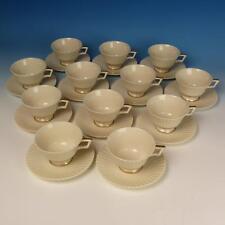Lenox China - Cretan - Temple Shape, Greek Key Verge - 12 Cup & Saucer Sets