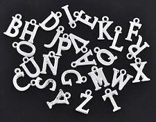 1 x set de 26 plaqué argent a-z alphabet lettres charms pendants