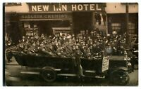 Antique WW1 military RPPC postcard convalescing soldiers in charabanc coach