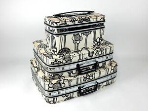 Vintage 1960's Samsonite *FASHIONAIRE* Luggage 3pc Set Black White Fashion