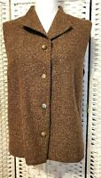 Vintage Orvis Wool Blend Vest, Womens Size L, Button Up Front Brown Tweed, Lined
