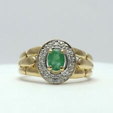 18K Gold 1/3ctw Emerald Diamond Halo Panther Link Shoulders Ring Sz 6