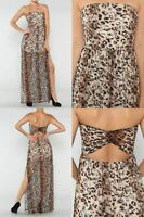 Sexy Strapless Leopard Lace Slit Open Side Elastic Banded Waist Long Maxi Dress