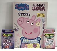 New 3pc Set Peppa Pig Jumbo Coloring & Activity Book, Pearl and Glitter Crayons