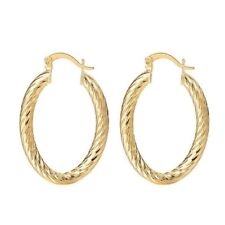 Ladies Oval Medium Gold Plated Twirl Clip on Back Hoop Party Everyday Earrings