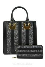 2 in 1 glitter handbag with matching wallet patent leather sparkly handbag BLACK