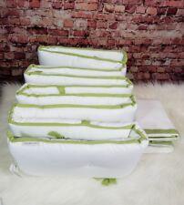 Serena & Lily Sprout Basics Crib Bumper and Crib Skirt Set White Green Trim