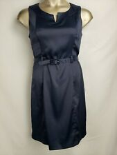 Dress Barn Woman 14 Navy Blue Satin Sheath Dress Work Evening Sleeveless