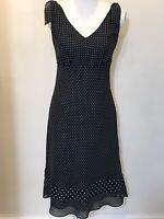 Ann Taylor Loft Black And White Sleeveless Polka Dot Dress Size 4 G