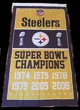 Pittsburgh Steelers 6 time Super Bowl Champions Banner 74, 75, 78, 79, 05 and 08