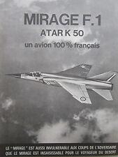 1973-74 PUB AVIONS MARCEL DASSAULT MIRAGE F1 FIGHTER SNECMA ATAR K50 ENGINE AD