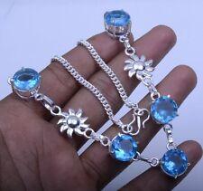 Birthstone Jewlery Blue Topaz Quartz Round Shape Handmade Necklace 16 ut336