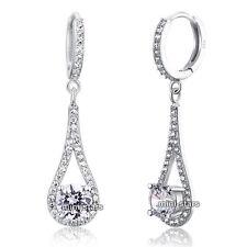 925 Sterling Silver Earrings Created Diamond Round Cut Bridal Wedding FE8019