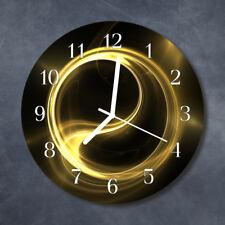 Glass Wall Clock Kitchen Clocks 30 cm round silent Abstract Circle Yellow