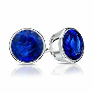 14k White Gold Bezel Round Blue Sapphire Stud Earrings 1.00 cttw