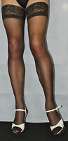 Barely Black 15 Denier Luxury Lace Top Large Size Hold Up Stockings Satin Sheen