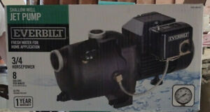 Everbilt 3/4HP Shallow Well Jet Pump #1000-026-692 (MODEL J200A3)   used3