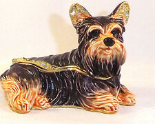 YORKIE DOG  PEWTER BEJEWELED HINGED TRINKET / JEWELRY / BOX