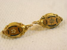 ANCIENNE PAIRE BOUCLE OREILLE DORMEUSE OR MASSIF 18 K EMAILLE BIJOUX JEWEL GOLD