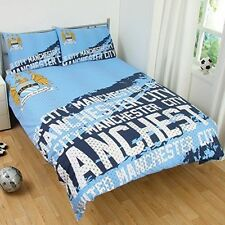 MANCHESTER CITY FC IMPACT DOUBLE DUVET QUILT COVER SET BOYS FOOTBALL BEDROOM NEW