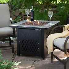 Fire Pit Table Deck Patio Balcony Outdoor Seating Lava Rocks Cover Propane Gas