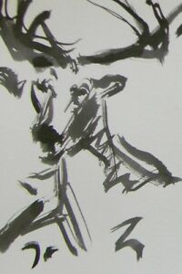 JOSE TRUJILLO ABSTRACT EXPRESSIONISM INK WASH MINIMALIST DEER CONTEMPORARY ART