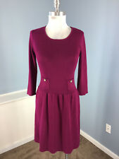 Anne Klein S Burgundy Wine Knit sweater dress A Line Wool Blend 3/4 sleeve EUC