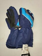 Joe Boxer Boys Blue Black Ski Gloves 3M 40g Thinsulate Waterproof Large Snow NEW