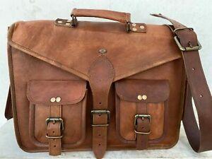 """Vintage Laptop 4 Pocket Messenger Handmade Computer Bags Satchel 18"""" Men Leathe"""