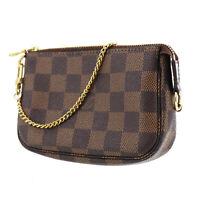 LOUIS VUITTON Mini Pochette Accessoires Hand Bag Damier Brown N58009 Auth #OO102