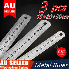 3PCS Metal Ruler Stainless Steel Double Sided 15/20/30CM Precision School Office
