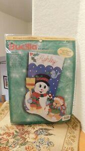 "Bucilla Snowman Felt Appliqué 18"" Christmas Stocking Kit 84142 VTG NEW Sealed"