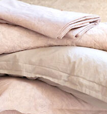 Sferra Sinna King Quilted Coverlet Rose/Taupe Cotton Percale Italy New
