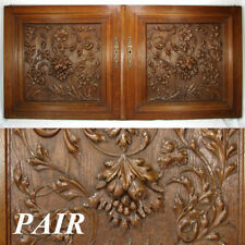 "LG 25"" Antique Victorian Brack Forest Style Oak Cabinet or Furniture Door PAIR"